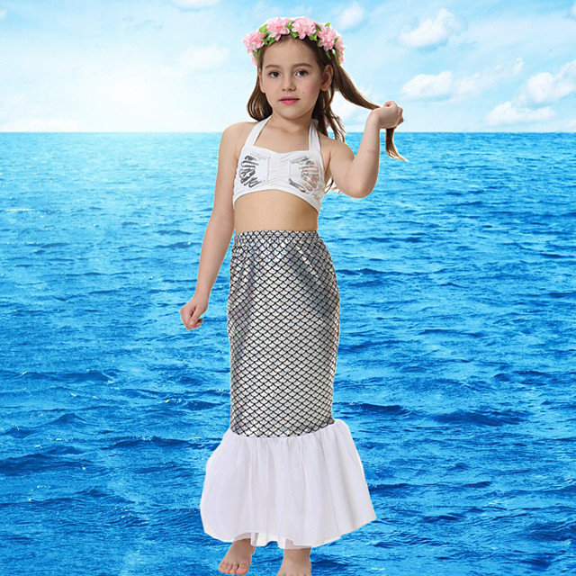 The Little Mermaid Princess Skirt Flower Girl Dress Girls' Movie Cosplay A-Line Slip White Top Skirt Briefs Children's Day Masquerade Polyster