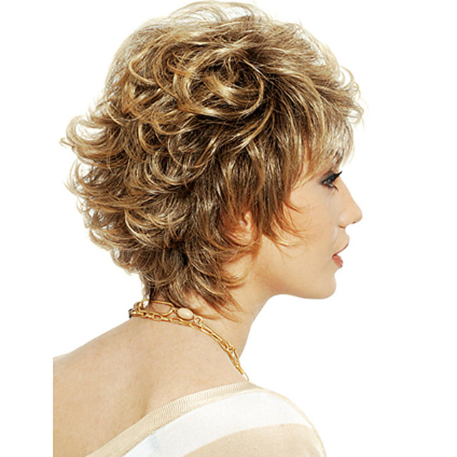 Synthetic Wig Curly With Bangs Wig Short Light golden Synthetic Hair 12 inch Women's Women Easy dressing Highlighted / Balayage Hair Blonde