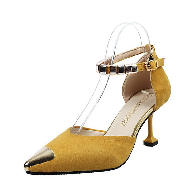 Women's Sandals Summer Flare Heel Pointed Toe Daily Suede Yellow / Army Green / Black