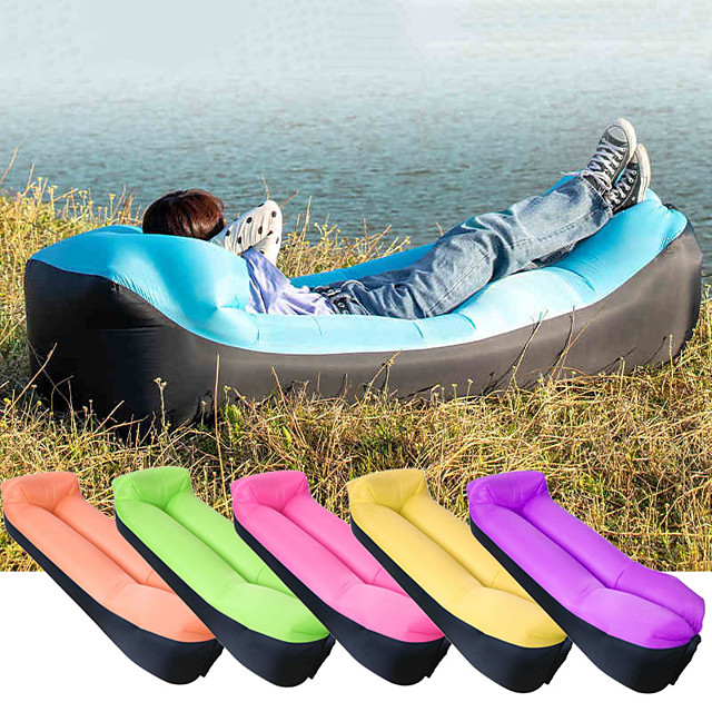 Air Sofa Inflatable Sofa Sleep lounger Air Bed Outdoor Camping Waterproof Portable Fast Inflatable Ultra Light (UL) Polyester Taffeta 190*70*35 cm for Beach Camping Outdoor All Seasons Purple Yellow