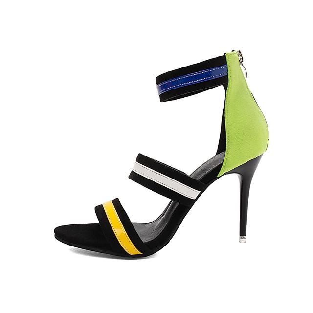 Women's Heels / Sandals 2020 Heel Sandals Spring &  Fall / Spring & Summer Stiletto Heel Open Toe Classic Minimalism Daily Party & Evening PU Light Green