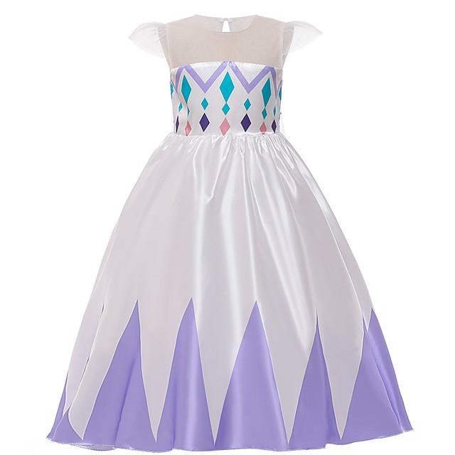 Princess Elsa Dress Flower Girl Dress Girls' Movie Cosplay A-Line Slip Purple / Blue Dress Children's Day Masquerade Tulle Sequin Cotton