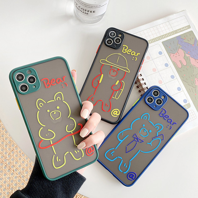 Case For Apple iPhone 11 / iPhone 11 Pro / iPhone 11 Pro Max Shockproof / Dustproof / Frosted Back Cover Word / Phrase / Transparent / 3D Cartoon TPU / PC