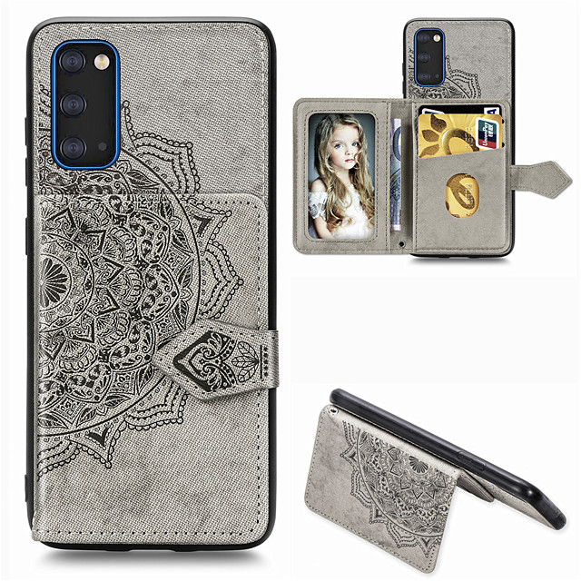 Mandala Embossed Magnetic Cloth PU Leather Wallet Case for Samsung Galaxy S20 Ultra S20 Plus A51 A71 A91 A81 S10 Plus S9 S8 Plus A70 A60 A50 A40 A30 A20 A10 Note 10 Card Slots Holder Stand Cover