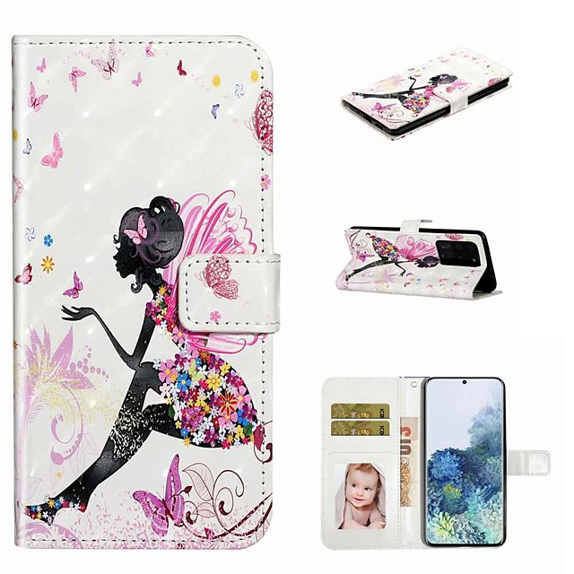 Case For Samsung Galaxy S20 / Galaxy S20 Plus / Galaxy S20 Ultra Wallet / Card Holder / with Stand Full Body Cases Butterfly Girl PU Leather / TPU for Galaxy A51 / A71 / A80 / A70 / A50 / A30S / A20
