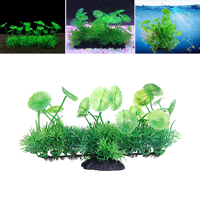 Fish Tank Arquatic Plant Fish Bowl Ornament Waterplant Artificial Plants Green Non-toxic & Tasteless Decoration Resin Plastic One-piece Suit 18*6*11 cm