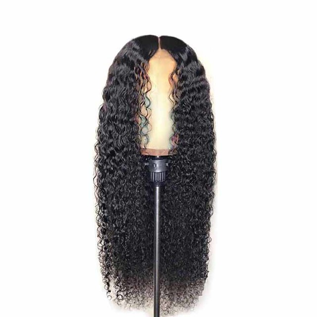 Synthetic Wig Matte Afro Curly Middle Part Wig Very Long Natural Black Synthetic Hair 26 inch Women's Middle Part curling Fluffy Black