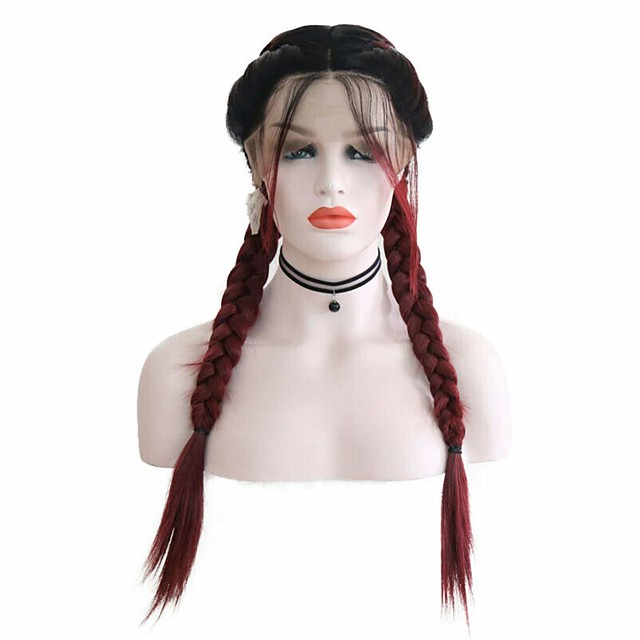 Synthetic Lace Front Wig Box Braids Middle Part with Baby Hair Lace Front Wig Burgundy Ombre Long Ombre Burgundy Synthetic Hair 18-26 inch Women's Soft Adjustable Party Burgundy Ombre