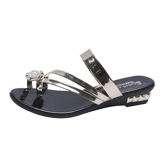 Women's Slippers & Flip-Flops 2020 Spring &  Fall / Spring & Summer Wedge Heel Open Toe Casual Preppy Daily Outdoor PU Gold / Silver / Black