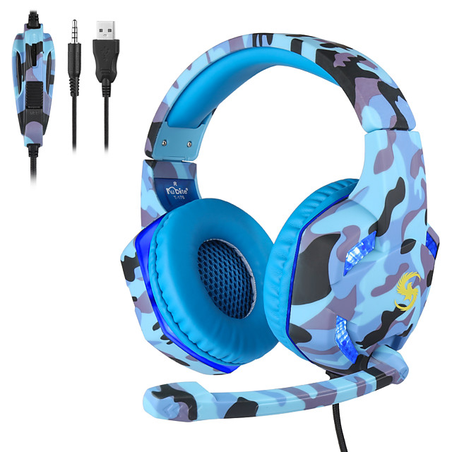 K-176 Camouflage Luminous Gaming Wired Headset 3.5mm Gaming Headphones W/MIC LED Headphones For PC Laptop PS4 Slim Xbox One X S