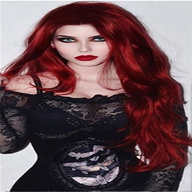 Synthetic Wig Curly Middle Part Wig Long Burgundy Synthetic Hair 18 inch Women's Fashionable Design Classic Women Burgundy