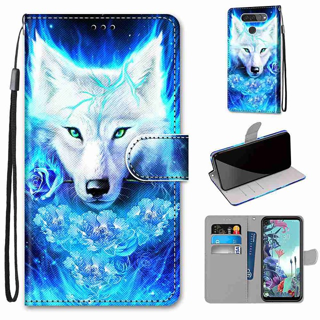 Case For LG Q70 / LG K50S / LG K40S Wallet / Card Holder / with Stand Full Body Cases Rose Wolf PU Leather / TPU for LG K30 2019 / LG K20 2019