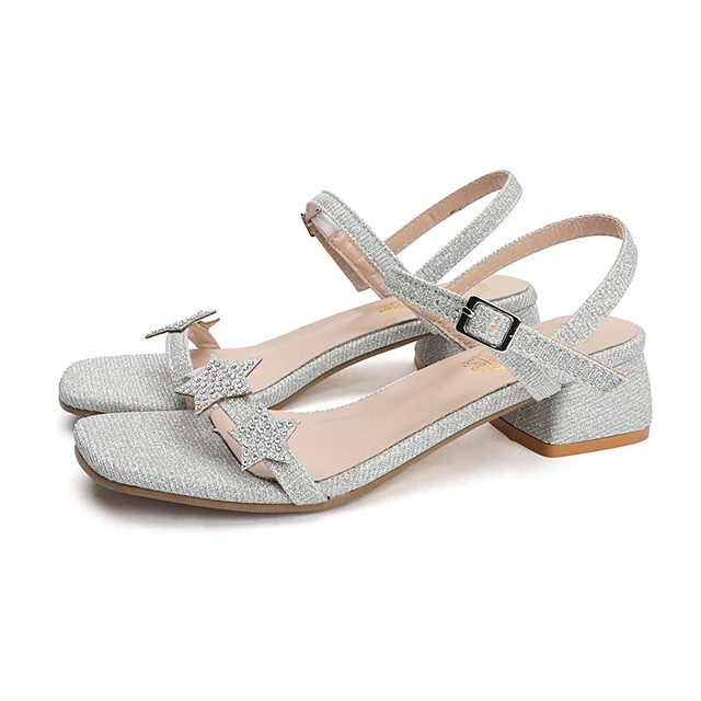 Women's Sandals Summer Block Heel Open Toe Casual Daily Outdoor Polyester Gold / Silver