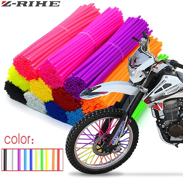 72Pcs  24cm Motorcycle Wheel Spoked Protector Wraps Rims Skin Trim Covers Pipe For Motocross Bicycle Bike Cool Accessories 11 Colors