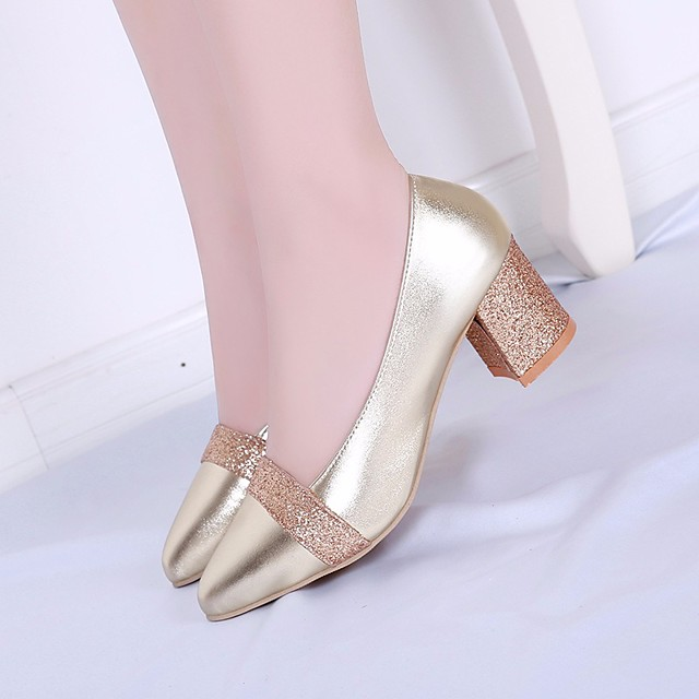 Women's Loafers & Slip-Ons Summer Chunky Heel Open Toe Daily PU Gold