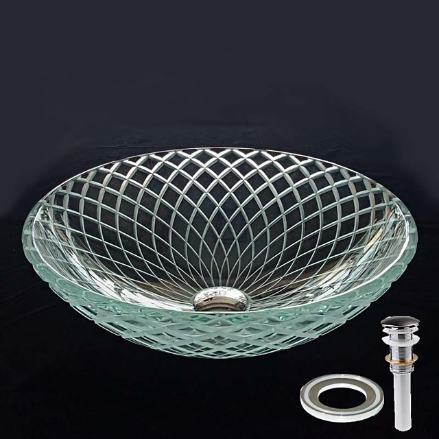 Round Computer Carved Line Tempered Crystal Glass Vessel Sink with Pop - Up Drain and Mounting Ring
