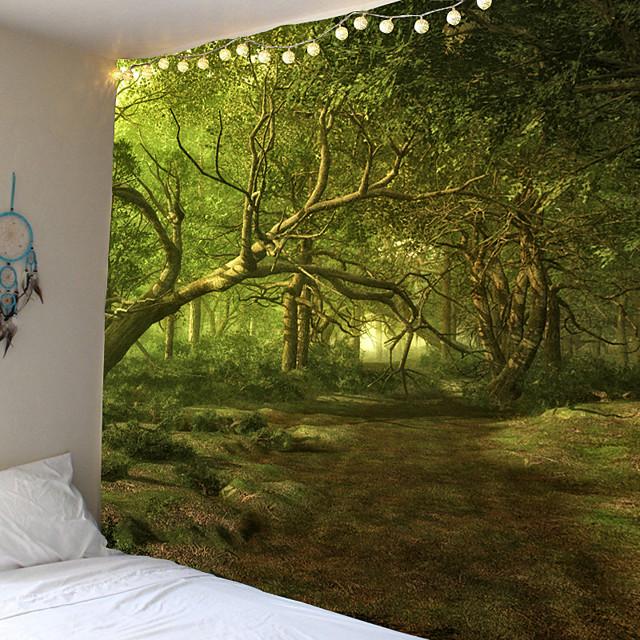 Trippy Tapijt Muur Opknoping Stoffen Bos Hippie Boom Tapestry Psychedelische Landschap Mountain Boho Decor Muurschilderingen Muur Tapijt