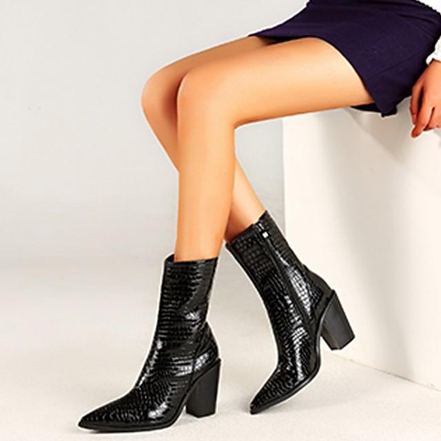 Women's Boots Summer Cuban Heel Pointed Toe Daily PU Black