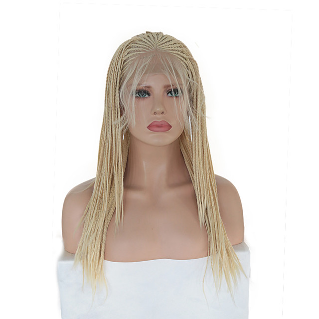 Synthetic Lace Front Wig Box Braids Plaited with Baby Hair Lace Front Wig Blonde Pink Long Blonde Synthetic Hair 16 inch Women's Soft Party Women Blonde Pink