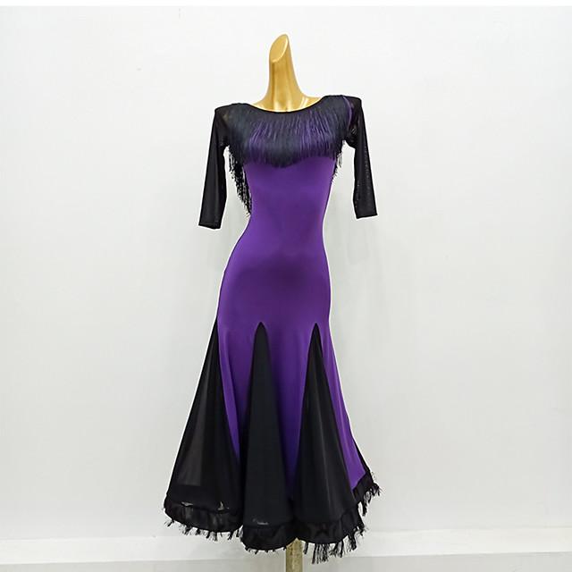 Ballroom Dance Dress Tassel Split Joint Women's Training Performance 3/4 Length Sleeve Mesh Milk Fiber
