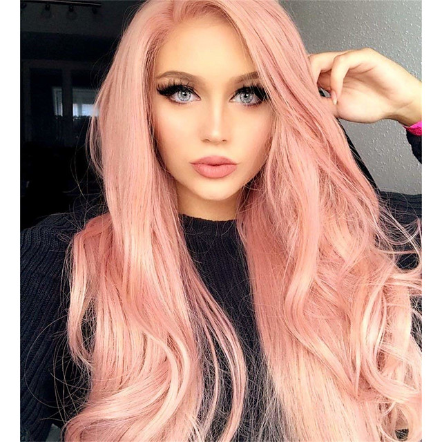 Synthetic Wig Matte Body Wave Asymmetrical Wig Pink Long Pink+Red Bright Purple Synthetic Hair 65 inch Women's Party Adorable Middle Part Pink Purple