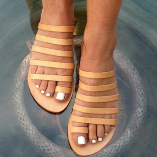 Women's Sandals Flat Sandals Summer Flat Heel Open Toe Daily PU Black / Yellow / Bunion Sandals