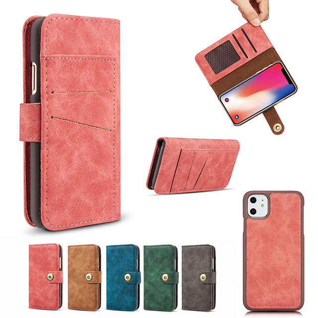 Case For APPLE  5s 6 6plus 7 8 SE 7plus 8plus XR XS XSMAX  X 11 11Pro 11ProMax Card Holder Shockproof Flip Full Body Cases Solid Colored magnetic split PU Leather TPU
