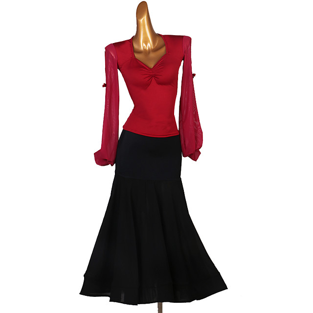 Ballroom Dance Skirts Split Joint Women's Training Long Sleeve Natural Spandex