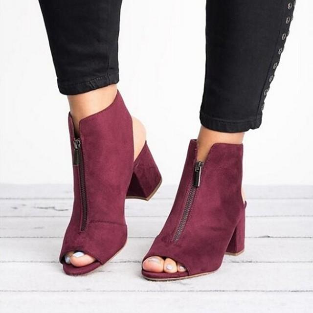 Women's Sandals Summer Cuban Heel Open Toe Daily Suede Burgundy / Black / Gray