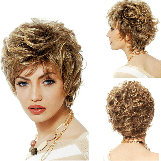 Synthetic Wig Curly Matte Layered Haircut Wig Short Light Brown Synthetic Hair 6 inch Women's Women curling Fluffy Brown