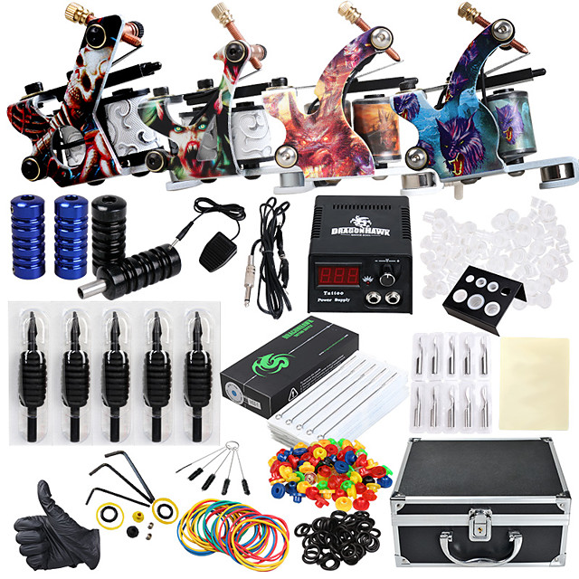 Solong Tattoo Professional Tattoo Kit Tattoo Machine - 4 pcs Tattoo Machines, Professional Level / All in One / Easy to Setup Alloy LCD power supply 4 alloy machine liner & shader / Case Included