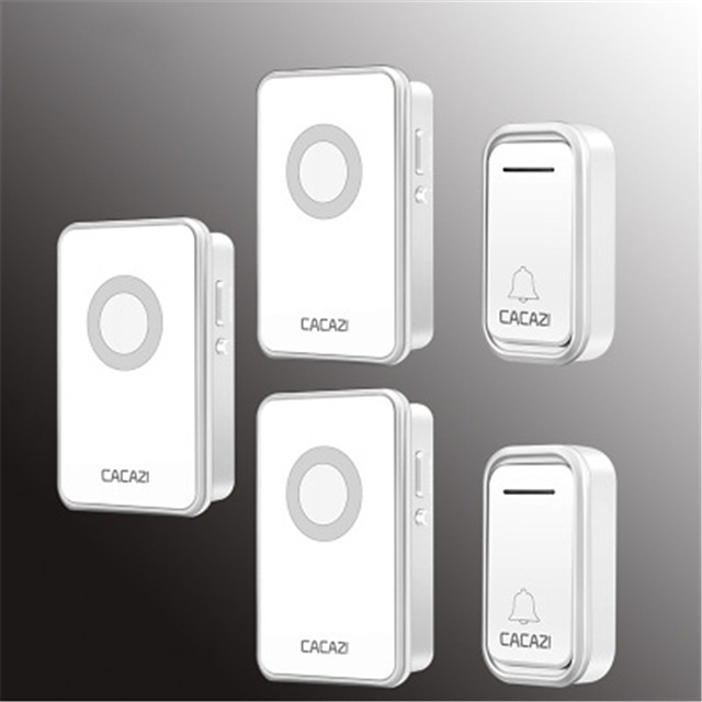 Cacazi V018F Waterproof Home Wireless Doorbell 300M Remote LED Light 2 Button 3 Receiver Cordless Door Bell Chimes