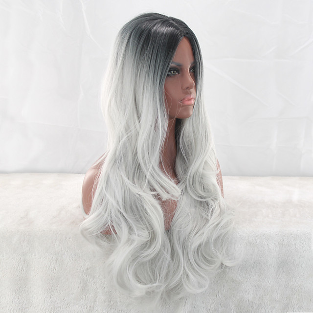 Synthetic Wig Curly Middle Part Wig Very Long Silver grey Synthetic Hair 26 inch Women's Ombre Hair Middle Part curling Silver
