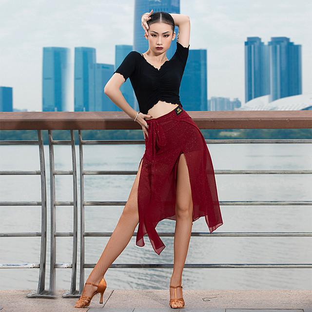 Latin Dance Skirts Split Women's Performance High Chiffon