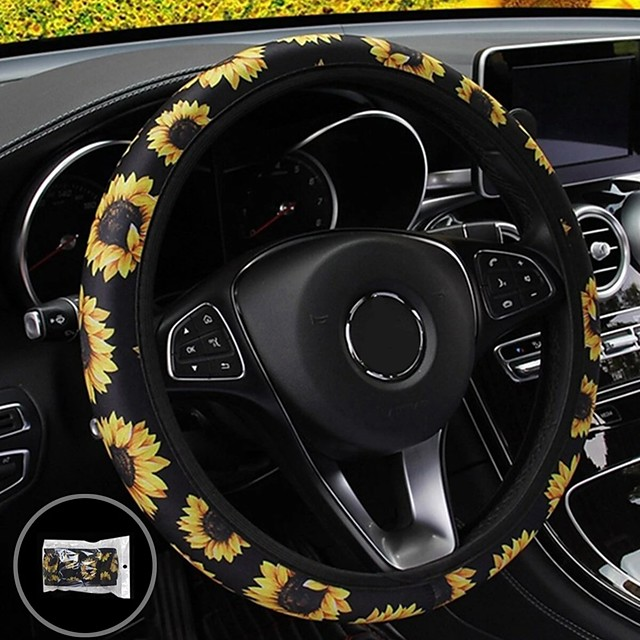 38cm Car Steering Wheel Covers Protector Glove Plush Sunflower  Shoulder Sleeves