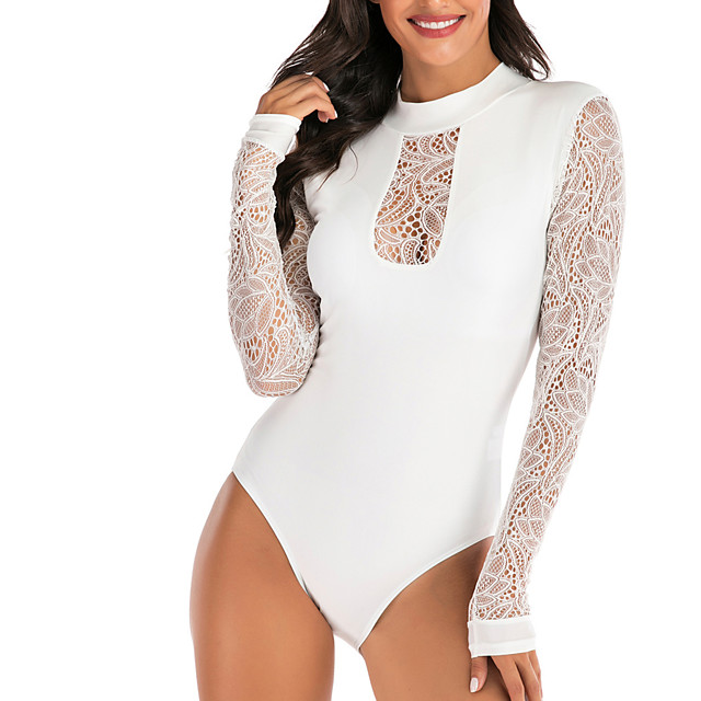 Women's Mesh One Piece Swimsuit Padded Swimwear Swimwear White UV Sun Protection Breathable Quick Dry Long Sleeve - Swimming Surfing Water Sports Summer / Stretchy