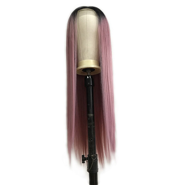 Synthetic Lace Front Wig Straight Middle Part Lace Front Wig Pink Ombre Long Pink Synthetic Hair 18-26 inch Women's Cosplay Soft Party Pink Ombre