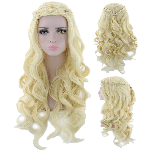 Synthetic Wig Curly Asymmetrical Wig Long Light golden Silver grey Synthetic Hair 18 inch Women's Fashionable Design Classic Women Silver Blonde