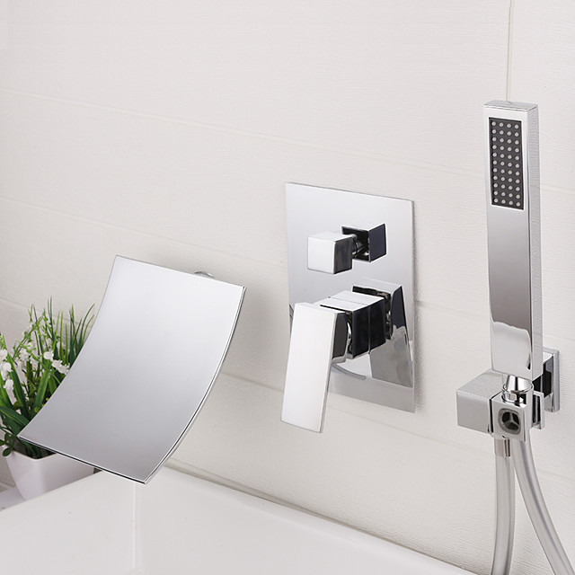 Bathroom Sink Faucet - Wall Mount / Waterfall / Widespread Chrome / Electroplated Widespread Single Handle Three HolesBath Taps