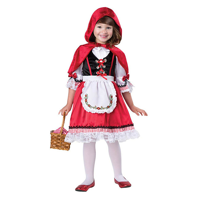 Little Red Riding Hood Dress Cloak Outfits Girls' Movie Cosplay Cosplay Red Dress Apron Cloak Children's Day Masquerade Polyester