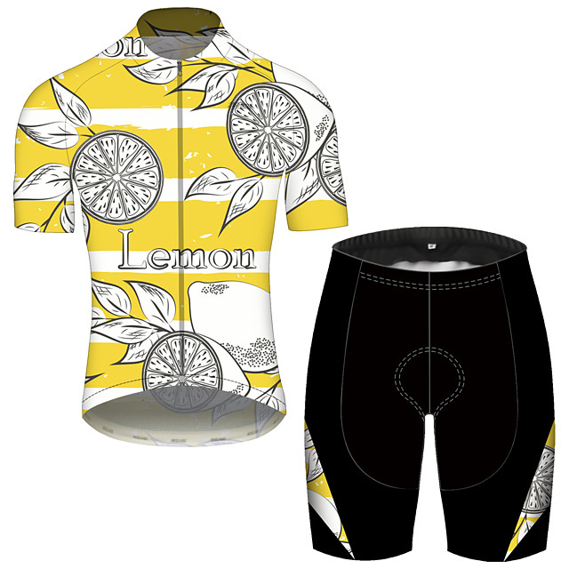 21Grams Men's Short Sleeve Cycling Jersey with Shorts Spandex Polyester Yellow Fruit Lemon Bike Clothing Suit UV Resistant Breathable 3D Pad Quick Dry Reflective Strips Sports Fruit Mountain Bike MTB