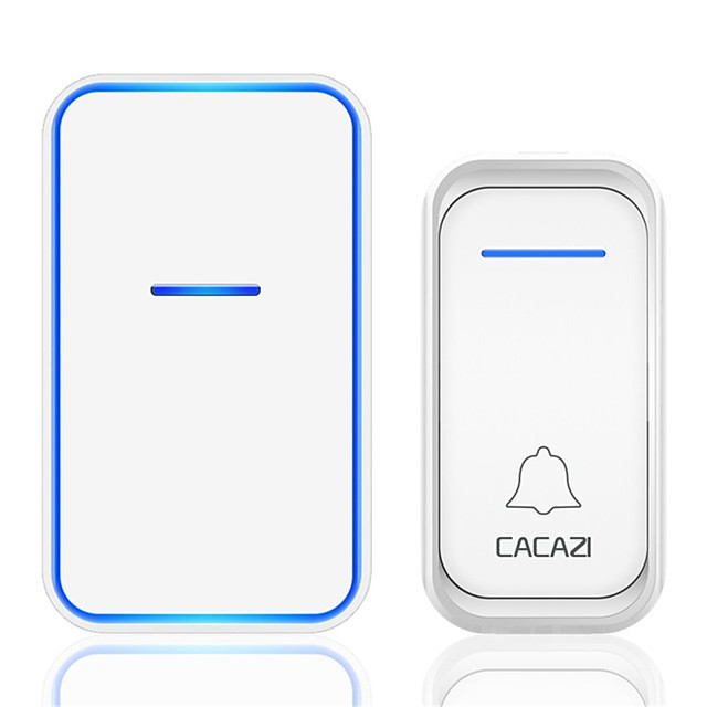 CACAZI Home Waterproof Wireless Doorbell 1 Button 1 Receiver 300M Remote Intelligent LED Light Door Bell Wireless Chime