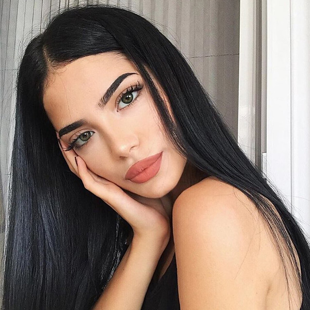 Synthetic Lace Front Wig Straight Gaga Middle Part Lace Front Wig Long Black#1B Synthetic Hair 22-26 inch Women's Heat Resistant Women Hot Sale Black / Glueless
