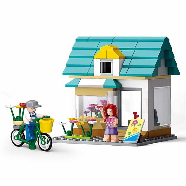 Building Blocks Educational Toy 149 pcs Cartoon Flower Shopping Cart compatible Plastic Shell Legoing Exquisite Hand-made Decompression Toys DIY Boys and Girls Toy Gift / Kid's