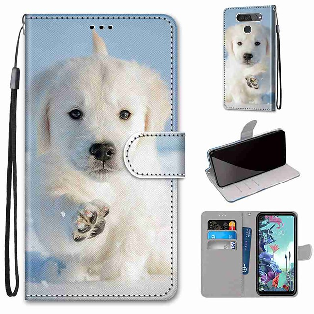 Case For LG Q70 / LG K50S / LG K40S Wallet / Card Holder / with Stand Full Body Cases Snow Dog PU Leather / TPU for LG K30 2019 / LG K20 2019
