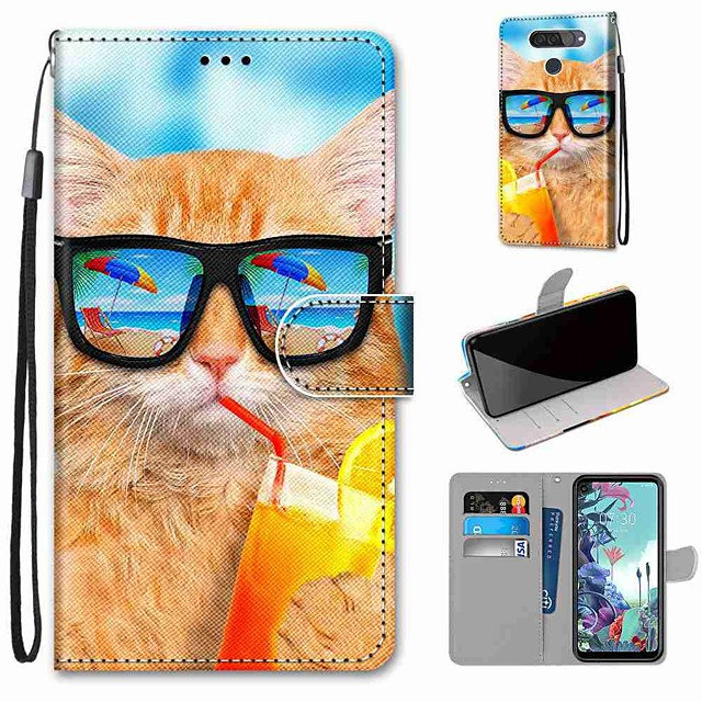 Case For LG Q70 / LG K50S / LG K40S Wallet / Card Holder / with Stand Full Body Cases Drink Soda Cat PU Leather / TPU for LG K30 2019 / LG K20 2019