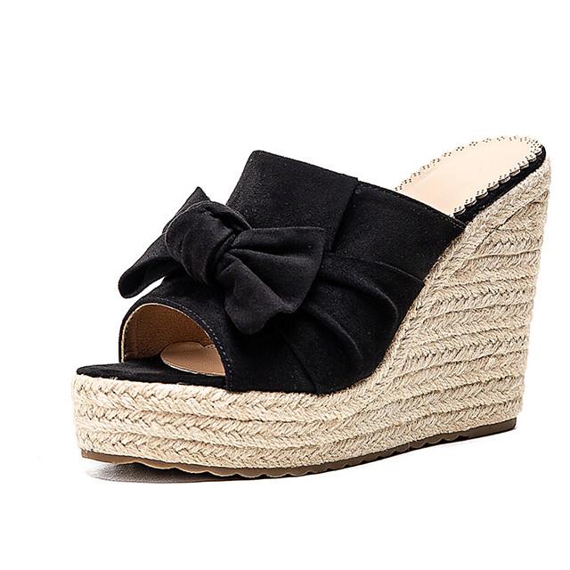 Women's Sandals Wedge Sandals 2020 Heel Sandals Summer Wedge Heel Peep Toe Minimalism Daily Party & Evening Bowknot Solid Colored Suede Dark Brown / Black / Beige
