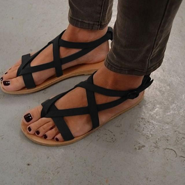 Women's Sandals Flat Sandal Summer Flat Heel Round Toe Daily Suede Black / Brown