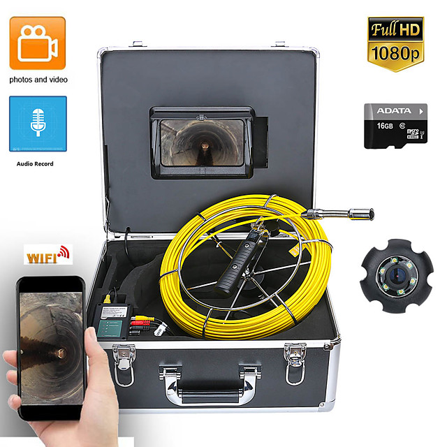 7inch DVR 50M HD1080P Drain Sewer Pipeline Industrial Endoscope Pipe Inspection Video Camera with DVR Video Recording / WIFI Wireless / Photo Editing