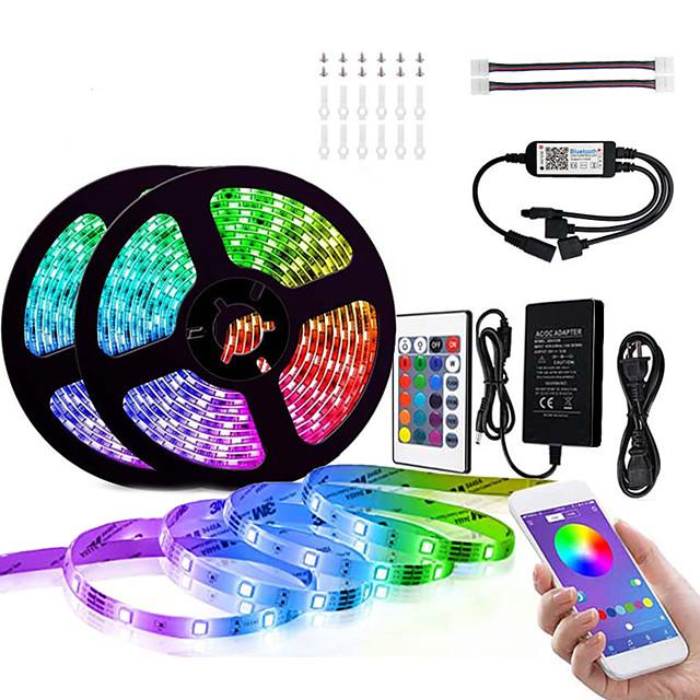 led stripelys 10m 32.8ft bluetooth 5050 rgb lys stripesett 300 leds smarttelefonstyrt for hjemme uteroms tv dekorasjon 12v 6a adapter